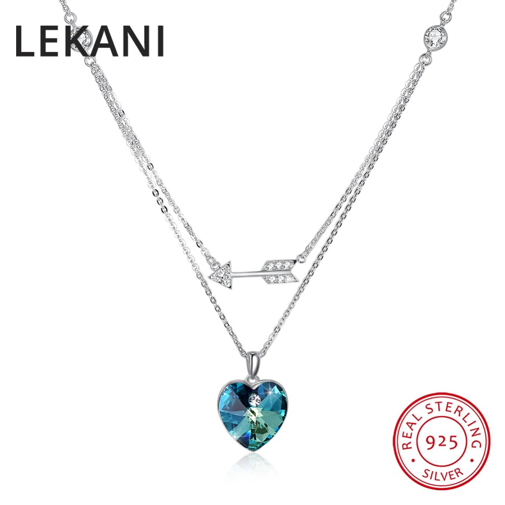 LEKANI Crystals From SWAROVSKI Heart Pendants Necklaces Real 925 Silver Double Chain Collares For Women Wedding Fine Jewelry все цены