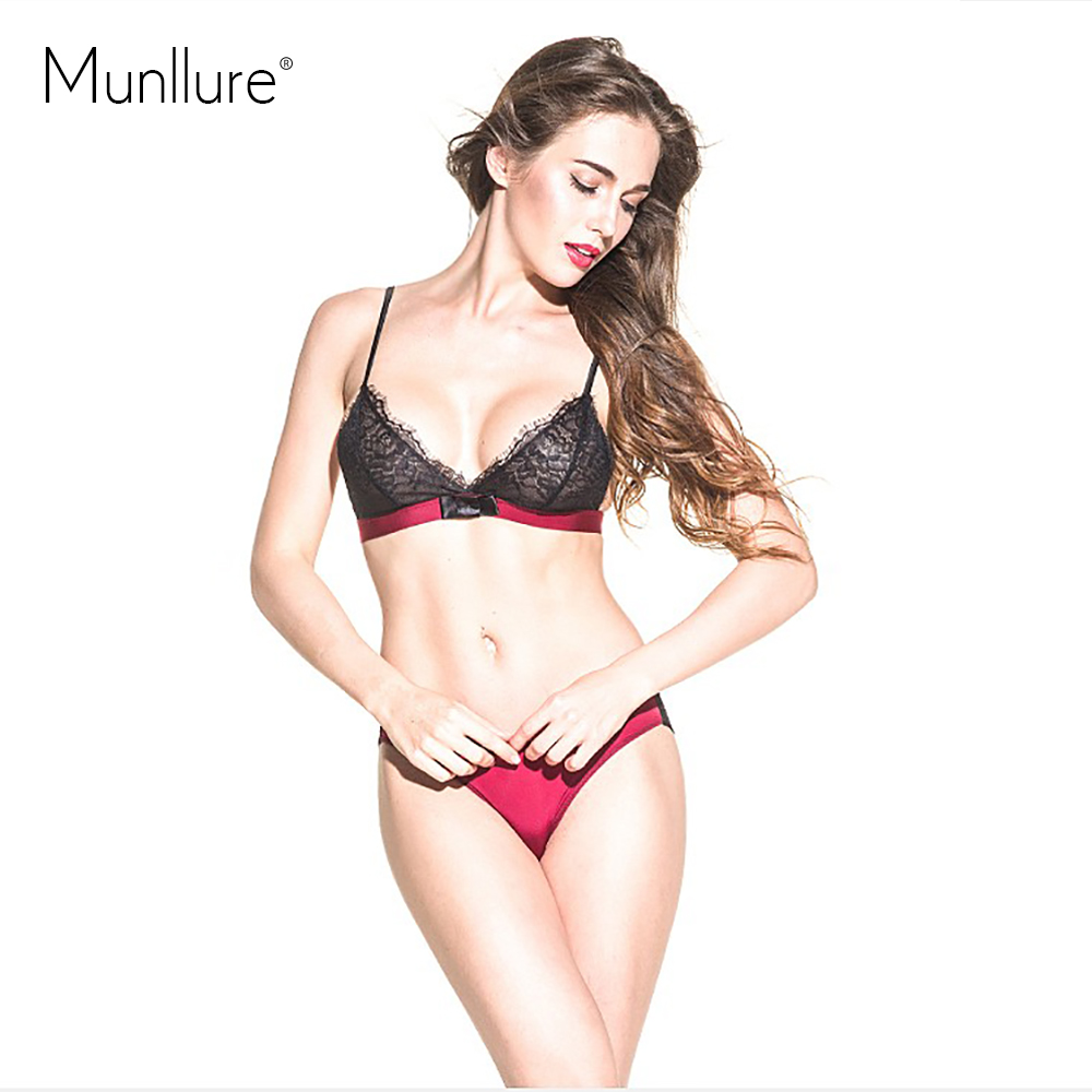fb9585e8c7 The new eyelash lace ultra thin sexy bra lace transparent thin wireless  triangle cup underwear the temptation to bra set-in Bra   Brief Sets from  Women s ...