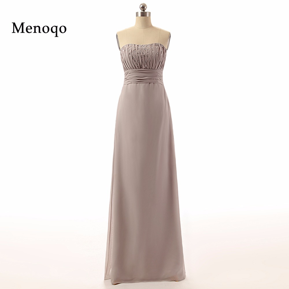 62739W 2019 charming style a line strapless beaded chiffon floor length long mother of the bride real photo dress