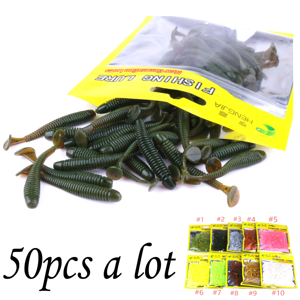50 Pcs/Bag T Tail Silicone Soft Bait Fishing Artificial Worms Soft Lures Carp Fishing Accessories
