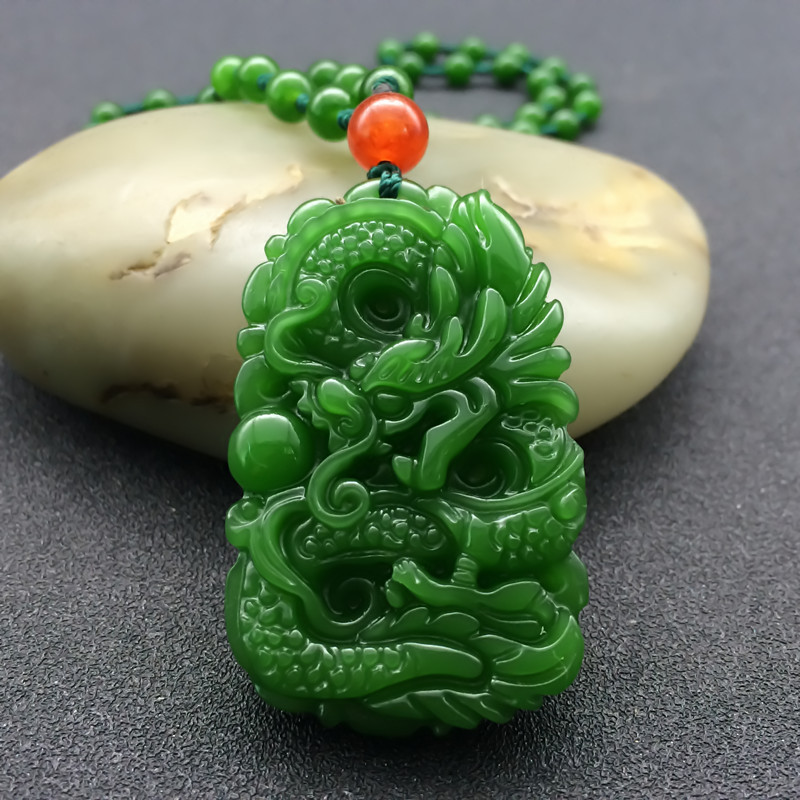 Free Shipping New Green Jades Pendant 3D Handmade Carved Chinese Dragon Women Men's Amulet Jades Jewelry Pendants+Beads Necklace