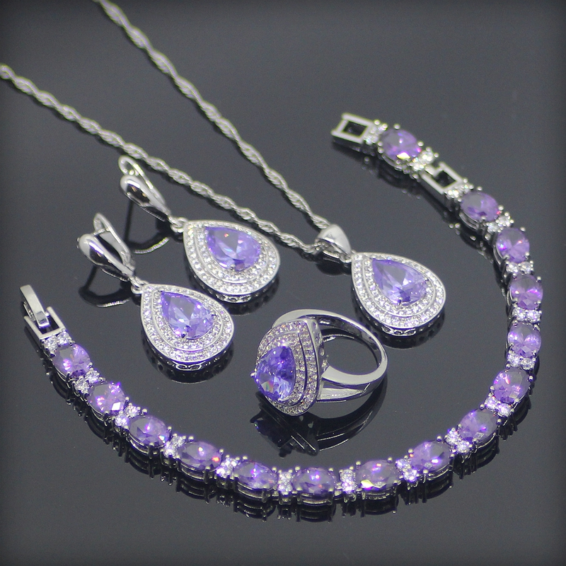 Purple Created Amethyst White CZ 925 Sterling Silver Jewelry Sets For Women Earrings Pendant Necklace Rings