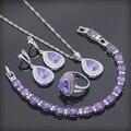 Roxo Criado Ametista Branco CZ 925 Esterlina Conjuntos de Jóias de Prata Para As Mulheres Brincos/Pingente/Colar/Anéis/pulseira de Caixa Livre