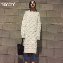 RUGOD 2018 Spring Winter New Arrival Vintage Twist Solid Women Long Knitted Dresses Casual Straight Mid-Calf O-Neck Female Dress