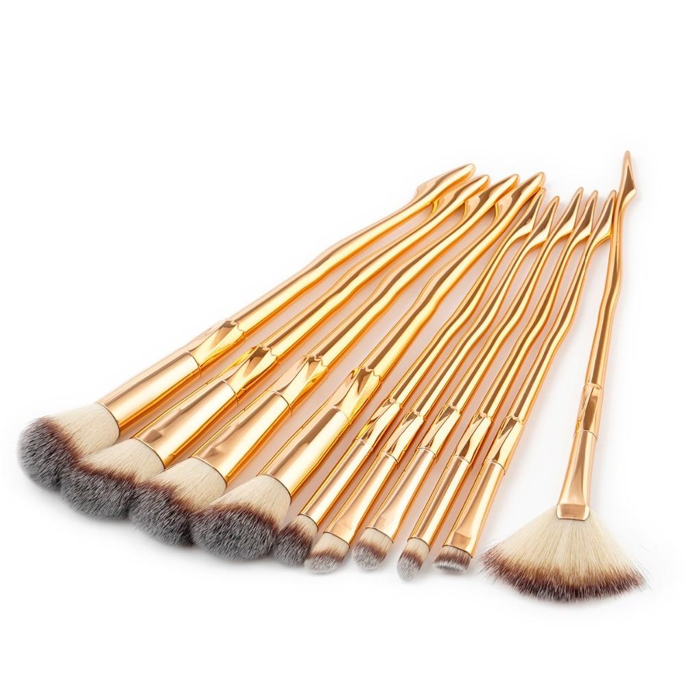 Conscientious Leg Shape Makeup Brushes Set Blue/gold Foundation Powder Eyebrow Cosmetic Brush Makeup Kwasten Concealer Lip Highlighter Brush Aesthetic Appearance Beauty & Health Makeup