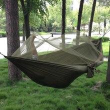Portable De Alta Resistencia Tela de Paracaídas Hamaca Que Acampa Hamaca Para Dormir Cama Con Mosquitera hamaca al aire libre