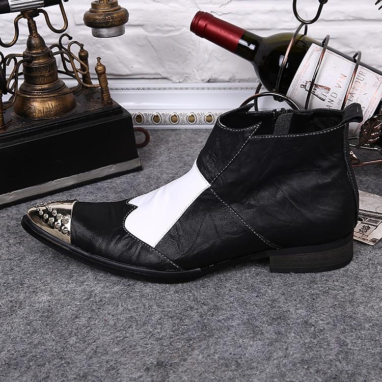 Lujo Italiano Punta De Zapatos Vestido Tachonado Puntiagudo Botas Cuero Marca Hombre Zobairou Metal Boda Borgoña aIXqd