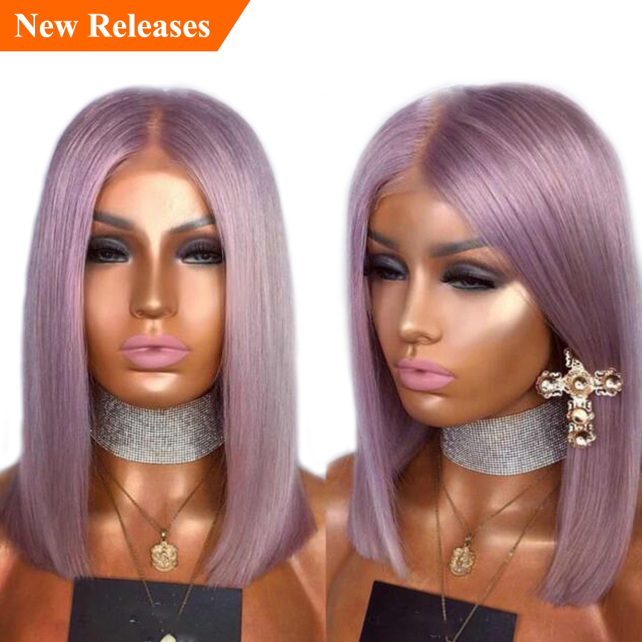 SHD Glueless Lace Front Short Human Hair Wigs For Black Women Bob Wig Grey/Blue//Purple Straight Lace Front Wig Remy 130%