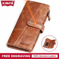 KAVIS Crazy Horse Genuine Leather Men Wallet Coin Purse Long DIY Gift For Male Clutch Walet