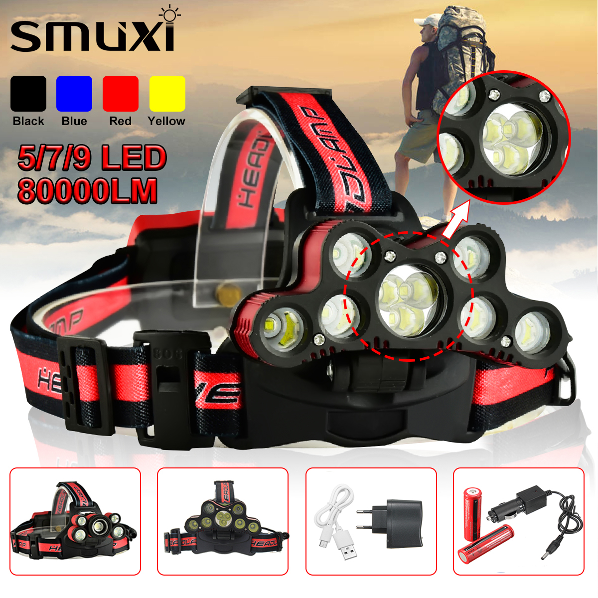 LED Headlamp 80000LM 5/7/9 LED T6 Headlight Head Flashlight Torch Forehead USB Rechargeable 18650 Head Lamp Fishing Headlight 12pcs lot hunting friends super bright led headlamp rechargeable flashlight forehead waterproof headlight head flashlight torch