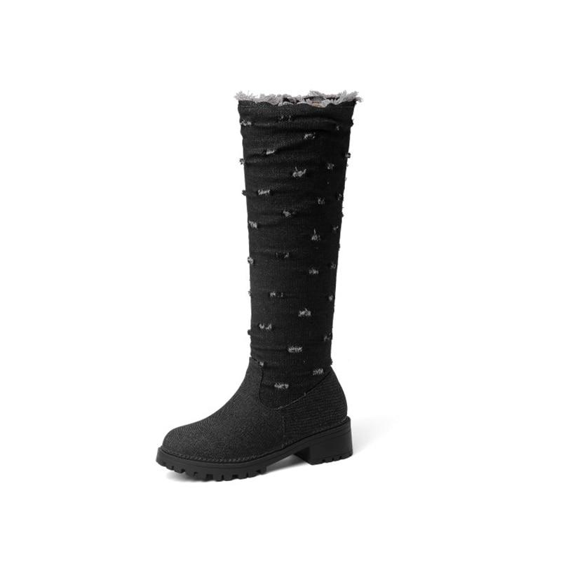 BLXQPYT супер большой размер 34–52 ткани стрейч джинсовые сапоги до колена; круглый носок Для женщин; сезон осень-зима; обувь на среднем каблуке; женская обувь Y76 - Цвет: Черный