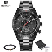 2017 Men Watches Luxury Top Brand BENYAR Sports Chronograph Fashion Male Dress Leather Clock Waterproof Quartz