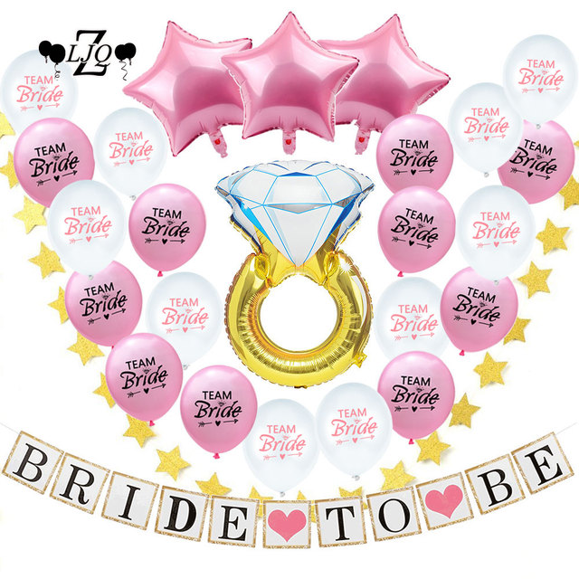 zljq 26pcs bachelorette party bride to be decorations kit wedding bridal shower supplies team bride