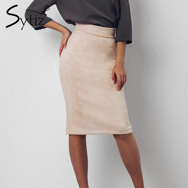 Sytiz замши Высокая Талия облегающая юбка Для женщин Разделение Винтаж по колено карандаш, офисные элегантные Юбки для женщин Для женщин S 2017