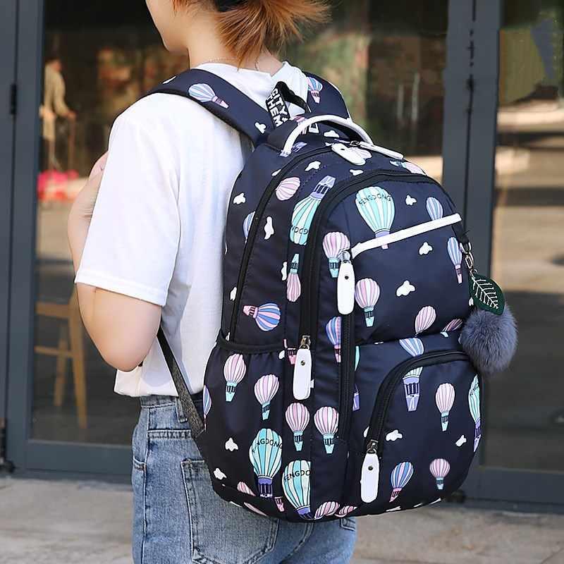FengDong забавные школьные сумки для девочек-подростков корейский стиль Школьный рюкзак для девочек меховой шар украшение Детская сумка подарок для девочки