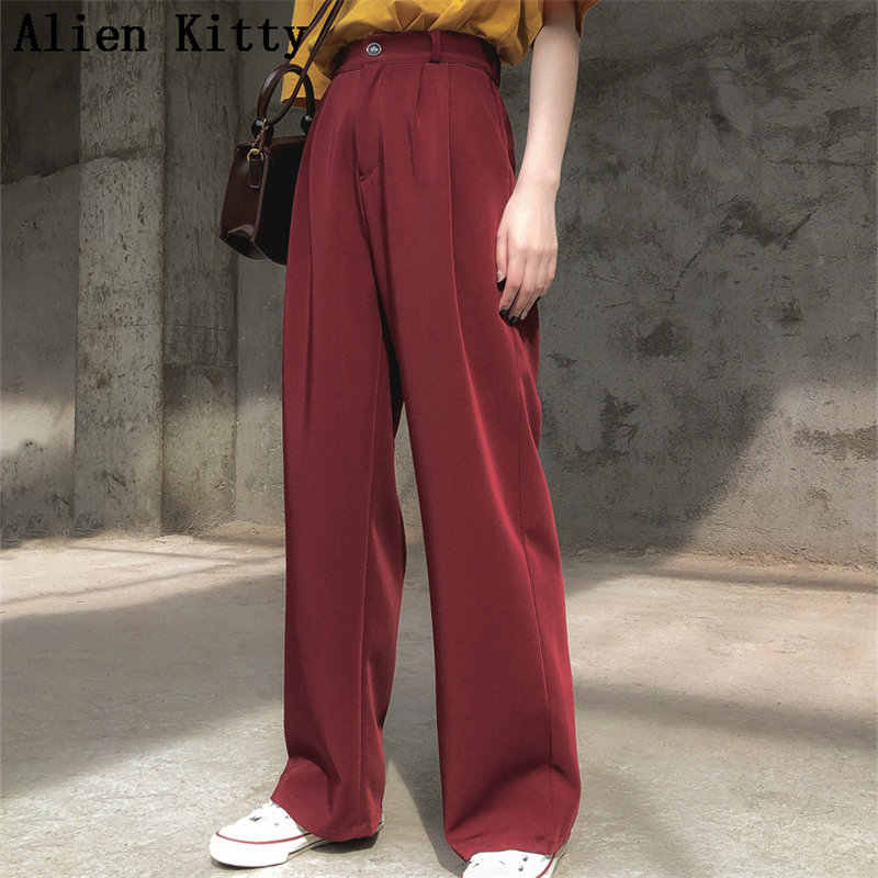 Alien Kitty  Hot Solid Casual Loose Straight Women Empire Fresh 2019 Summer Free Texture Simple Trousers