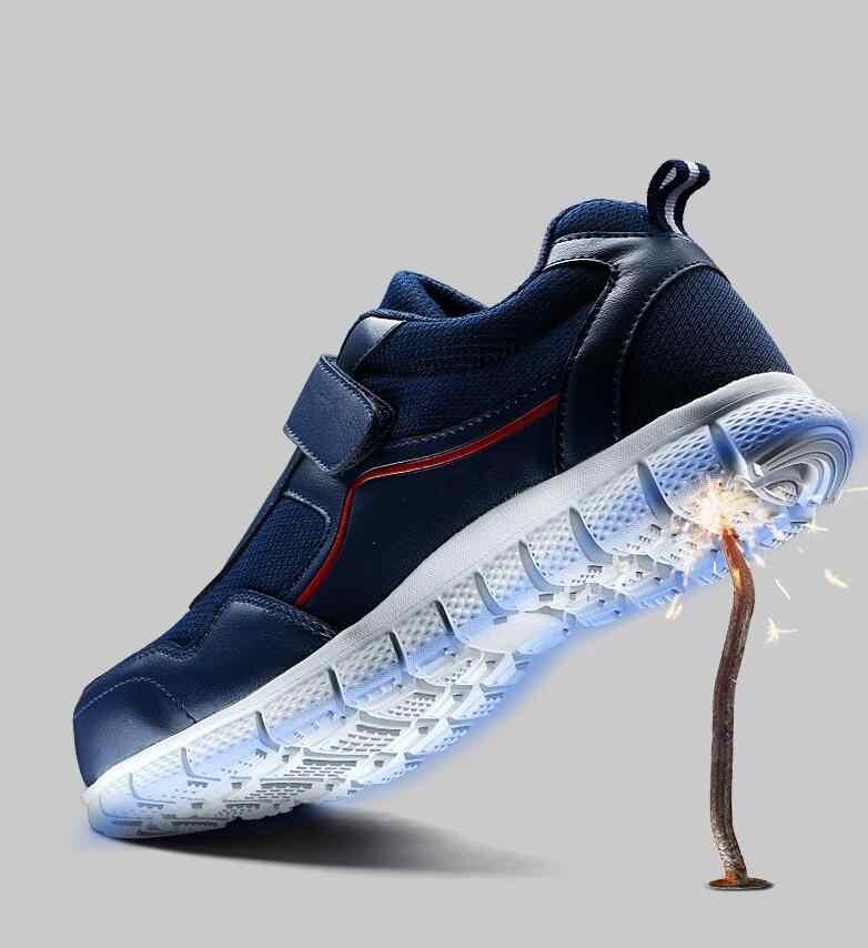 Huanqiu/Мужская Рабочая обувь со стальным носком; легкая дышащая повседневная обувь на мягкой подошве; кроссовки с защитой от проколов с волшебной лентой; wyq74