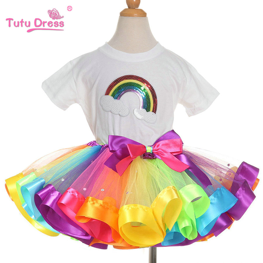 все цены на Summer Girls Clothing Sets Rainbow Casual Cotton Short Sleeve T-shirt+Rainbow Tutu Skirts Children Kids Girl Clothes 2pcs Set онлайн