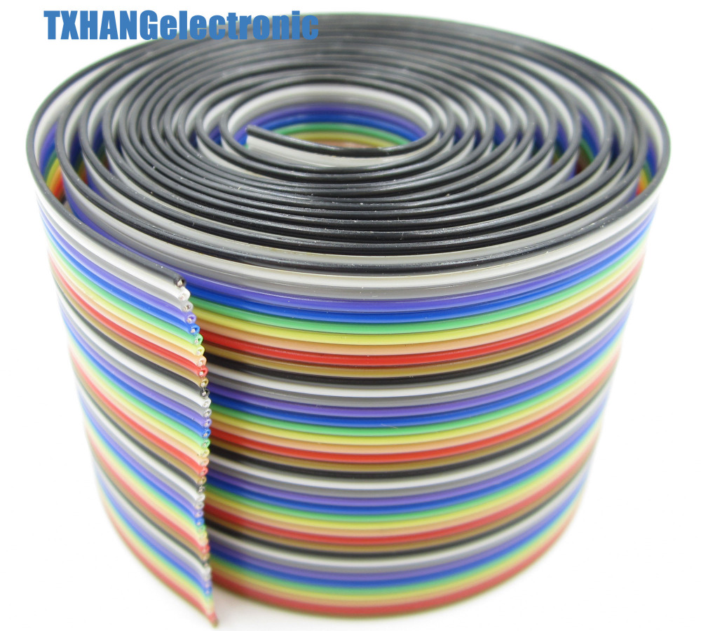 Rainbow Ribbon Cable 4 Conductor : M ft way pin flat color rainbow ribbon idc cable