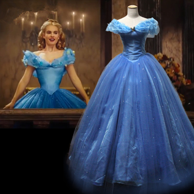 New Movie Deluxe Cinderella Dress Cosplay Costume Party