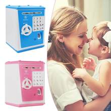 ATM Piggy Tank Fingerprint Password Box Auto-roll Piggy Tank Safety Cabinet Children's Birthday Gift Toys(China)