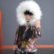 2018 Girls Winter Jackets Faux Fox fur liner Parkas Fox Fur Coat for girls Toddle Camo Hoodies Girl Detachab Outfit Warm Clothes