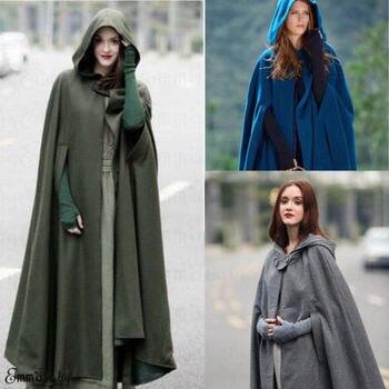 Mode Frauen Lange Cape Mantel Winter Mit Kapuze Wolle
