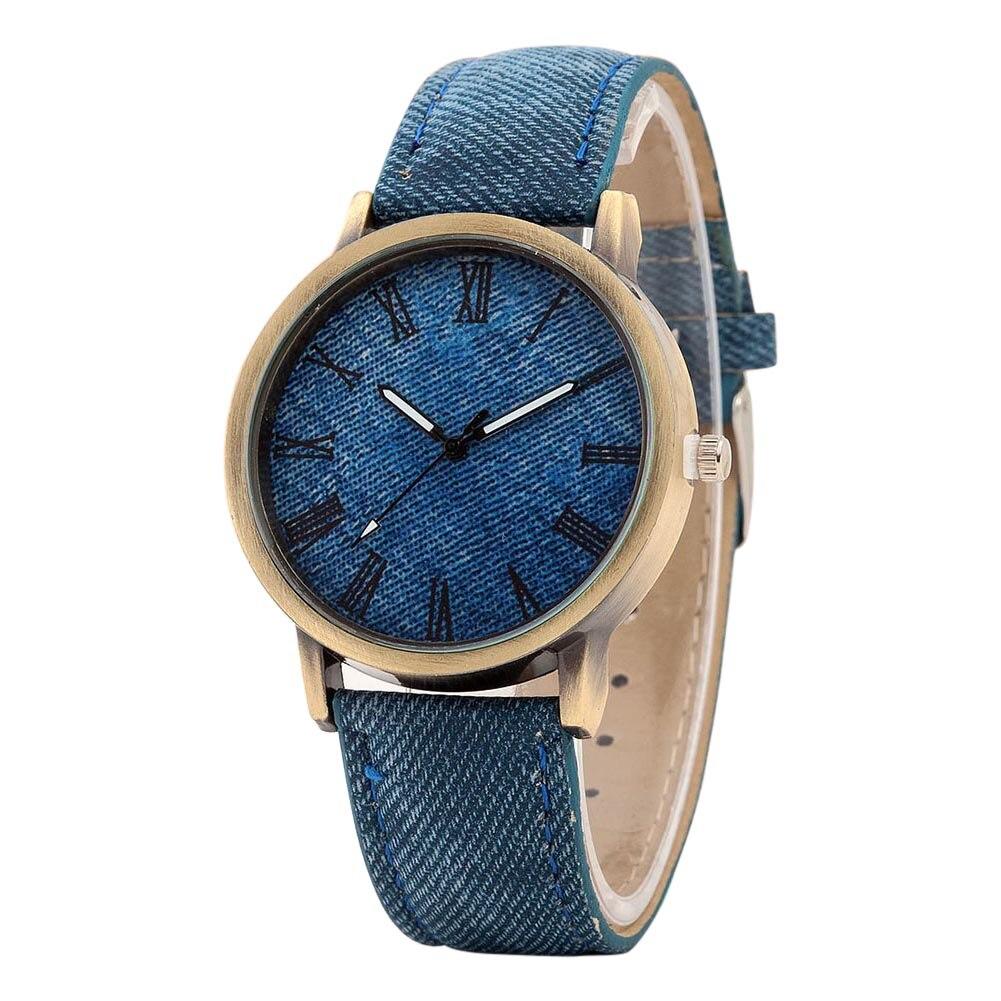 Simple Fashion Watches Rome Digital Retro Clock Denim Cow Leather Strap Wristwatch Men And Women Casual Quartz Watch LXH retro digital flip page gear clock