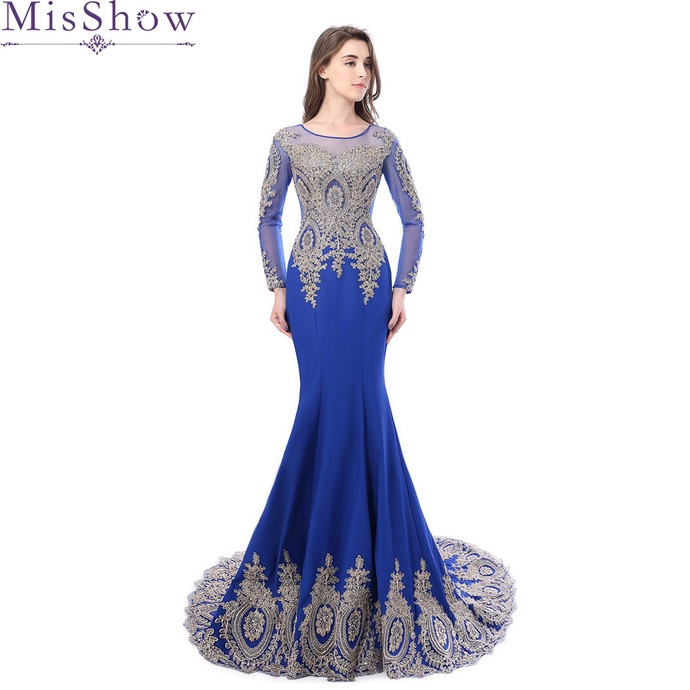 100 Real Photo Illusion Long Sleeve Mermaid Arabic Dubai Women Evening Dresses Abendkleider Dress Elegant 2019