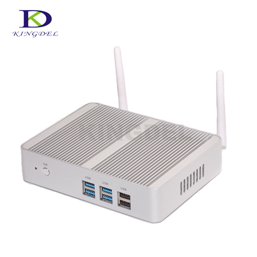 Kingdel Fanless Desktop Computer Mini PC With N3150 Dual Lan Dual HDMI Free WiFi Barebone 8GB RAM 256GB SSD 1TB HDD