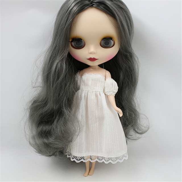 Clothes For 1/6 Blyth Doll White Long Dress Off-The-Shoulder Dress