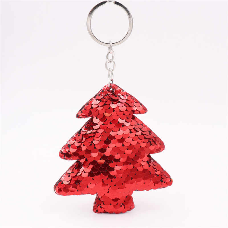 Sitaicery Bonito Árvore De Natal Chaveiro Pompom Glitter Lantejoulas Saco de Presentes de Natal Para As Mulheres Encantos Do Carro Acessórios Chaveiros Bugiganga