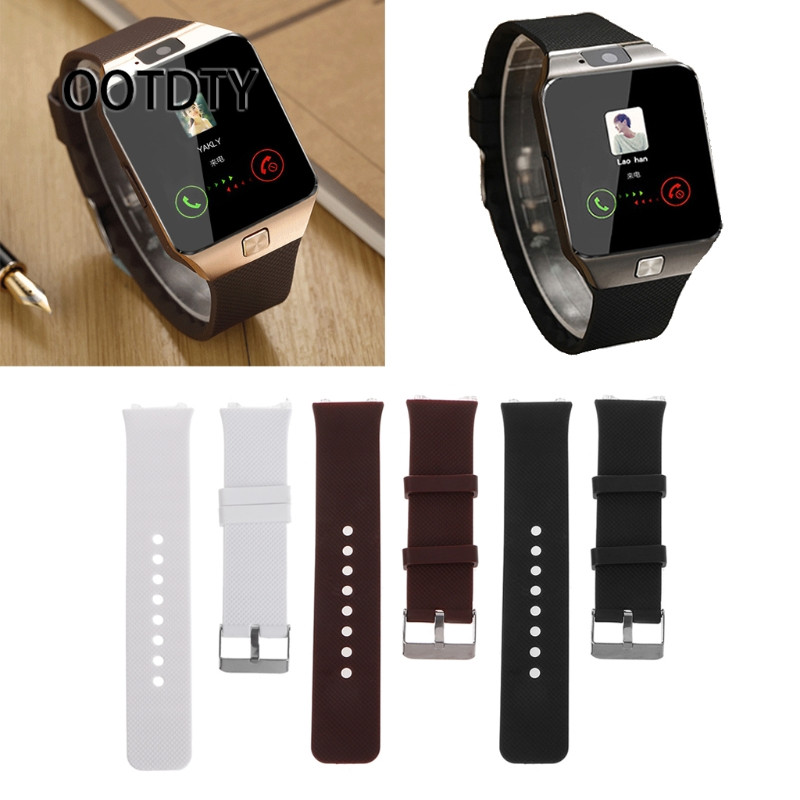 OOTDTY Smart Watch Strap Silicone Wrist Band Strap Metal Buckle Bracelet Replacement For DZ09 Smart Watch