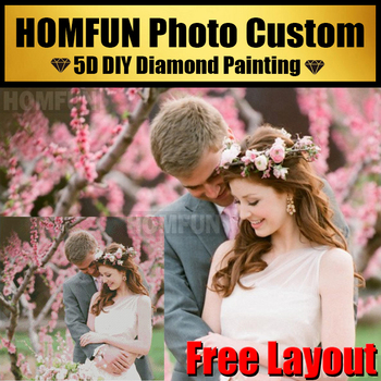 HOMFUN 5D Diamond Painting! Private Custom Parents,Children,Lovers Picture Photos Full Rhinestones Make Your Own Diamond 5D