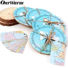 OurWarm Travel Wedding Favors Round Cork Coasters Theme Gifts Compass Decoration