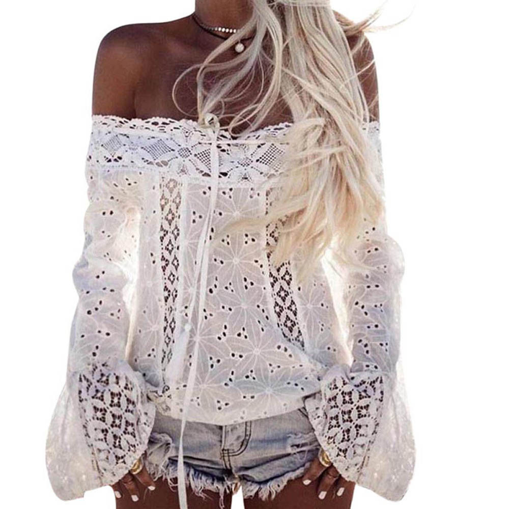 New Coming Lovely Women Off Shoulder Long Sleeve Lace Loose Blouse Tops camisas femininas manga longa 2017 blusadrop shopping ...