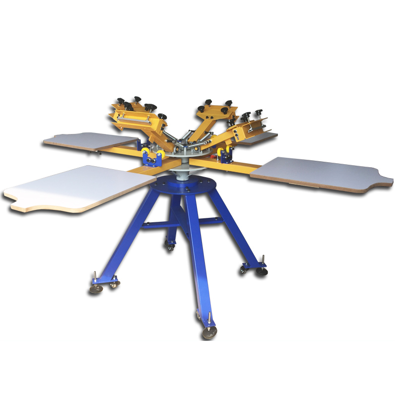 Hand 4 Color 4 Station Carousel Screen Printing Machine For Clothes,manual Screen Printing Machine For Clothes