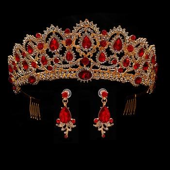 الأحمر الزفاف تاج الذهب الملكي تاج العروسة الملكة تاج العروس و القرط مهرجان الباروك عقال شعر أميرات مجوهرات حلية