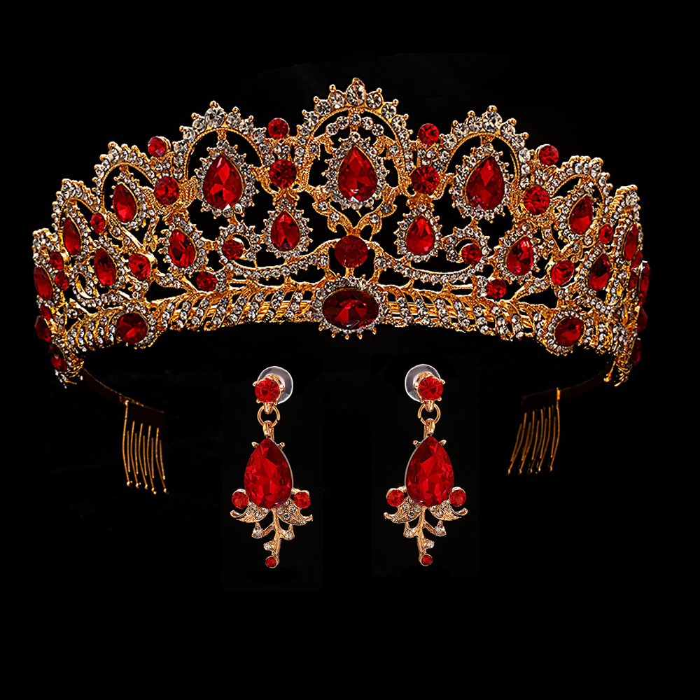 Red Queen crown Crystal bridal Tiaras bride crown and earrings Baroque headband Wedding Accessories diadem hair jewelry ornament red crystal wedding crown queen tiara bride crown headband bridal accessories diadem mariage hair jewelry ornaments