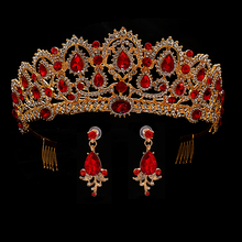 Red Wedding Crown Gold Royal Bridal Tiara Queen Bride Crown And Earring Pageant Baroque Headband Princess Hair Jewelry Ornament barroco headband crown europe and large baroque married crown tiara women jewelry