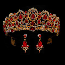 Red Wedding Crown Gold Royal Bridal Tiara Queen Bride Crown And Earring Pageant Baroque Headband Princess Hair Jewelry Ornament(China)