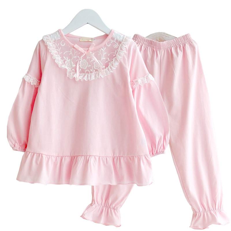 Image 2 - Summer Girls Pajama Sets Kids Sleepwear Cotton Lace Lantem Sleeve Home Clothes Children Nightgown Princess 90 170cmPajama Sets   -
