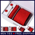 Men classic business necktie sets Wedding gifts Jacquard Plaid Striped Mans Ties sets 7cm cuff link hanky tie clip with Box Red