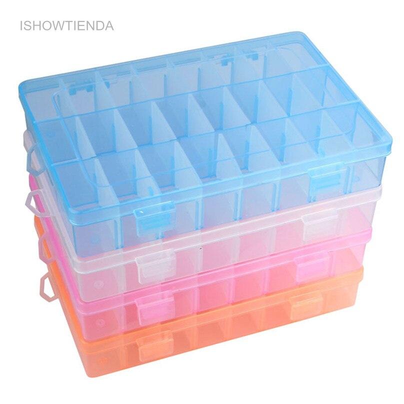 ISHOWTIENDA 1PC Adjustable 24 Compartment Transparent Plastic Storage Box Jewelry Earring Case Small Objects Caja De Almacenaje