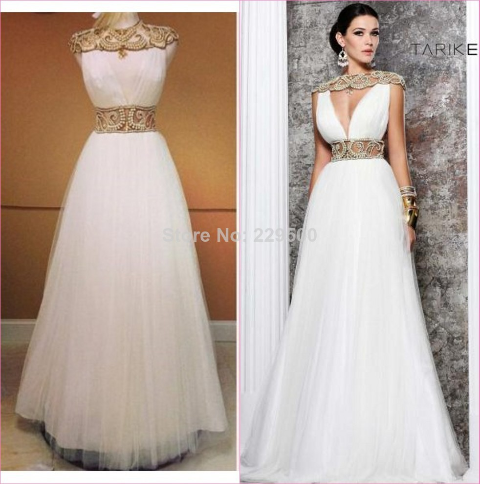 2014 Glamorous A Line White Tulle Beaded Long Prom Gowns ...