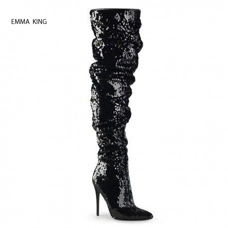Botas Mujer 2018 Fashion Pointed Toe Stilettos Over the Knee Boots Bling Thin High Heels Thigh High Nightclub Stage Shoes WomanBotas Mujer 2018 Fashion Pointed Toe Stilettos Over the Knee Boots Bling Thin High Heels Thigh High Nightclub Stage Shoes Woman