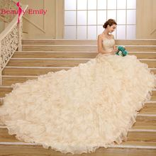 Beauty-Emily Luxury Tiered Ball Gown Wedding Dresses 2017 Sleeveless  Sweetheart Lace Up Royal Train Tulle Bridal Gowns