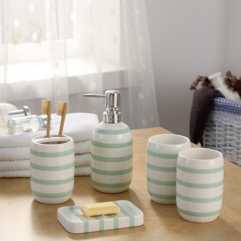 ceramic bathroom accessories toothbrush holder dispenser soap dish cups 5 pieceset green striped home hotel bath room products