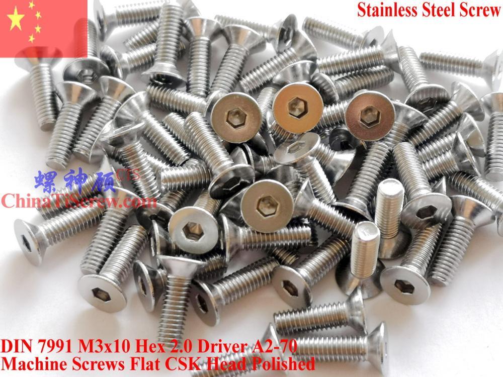 Aço inoxidável A2-70 M3x10 CSK Cabeça Chata parafusos DIN 7991 Hex Motorista Polido ROHS 100 pcs