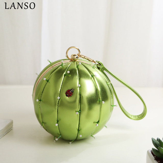 LANSO Personality Cactus Messenger Bag Chain Handbag Funny Handmade Bead Round  Bags Green Circular Ball Women Party Clutch Purse